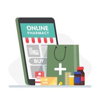 Apteka internetowa ze smartfonem, papierową torbą, pigułkami, butelkami, ampułkami. koncepcja drogerii online w stylu płaski.