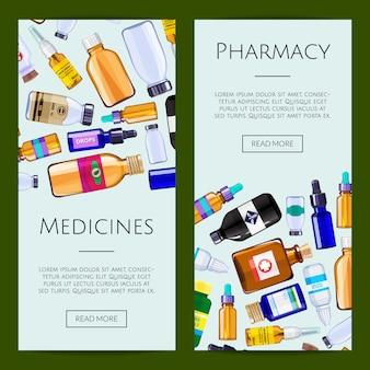 Apteka medycyna butelek internetowych baner ilustracji