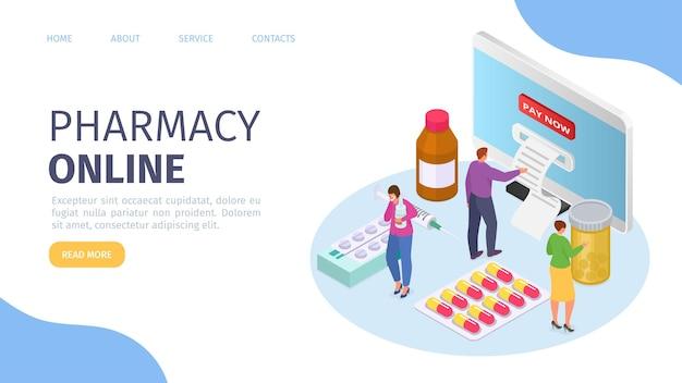 Apteka medyczna online izometryczna strona internetowa ilustracja wektorowa technologia online dla zdrowia mężczyzny kobiety...