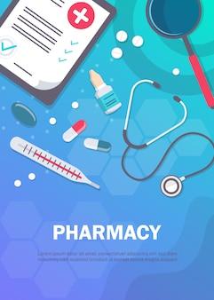 Apteka tło, projekt apteki, szablony apteki. medycyna, apteka, szpital zestaw leków z etykietami. leki, koncepcja farmacji. różne medyczne.