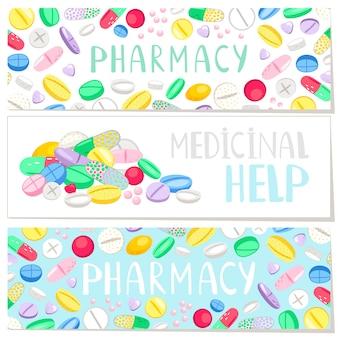 Apteka transparent z kolorowymi pigułkami, pomoc medyczna
