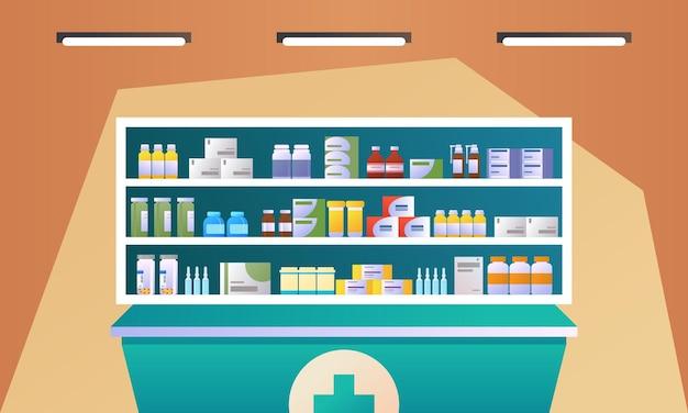 Apteka wnętrze z licznikiem i lekiem na półkach ilustracji