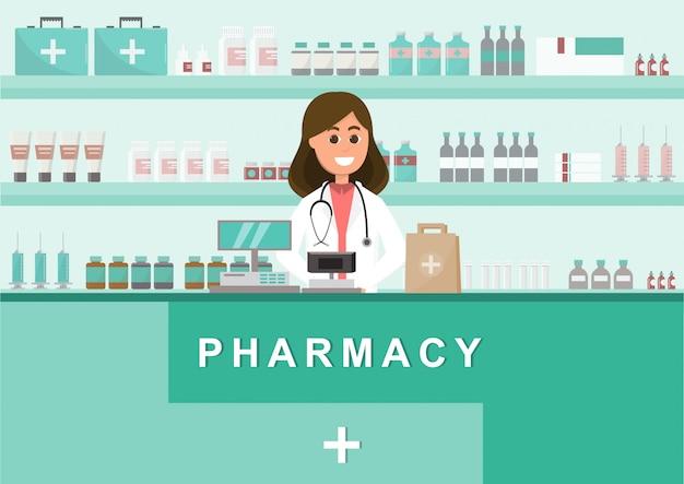 Apteka z pielęgniarką w kasie. postać z kreskówki apteka