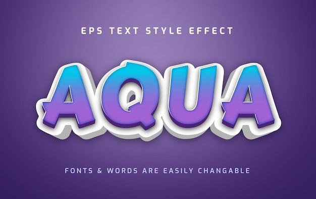 Aqua blue 3d edytowalny efekt tekstowy