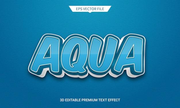 Aqua blue 3d edytowalny efekt w stylu tekstu premium wektor
