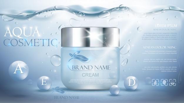 Aqua krem nawilżający kosmetyk. reklama realistyczny podwodny niebieski szablon. promocja pielęgnacji skóry. nawilżający balsam do twarzy. ilustracja