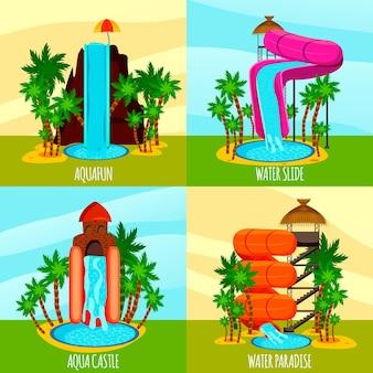 Aqua park płaski koncepcja z motywem zjeżdżalnie wodne baseny i palmy na białym tle