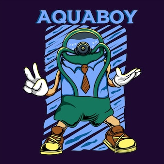 Aquaboy charakter ilustracja kreskówka wektor