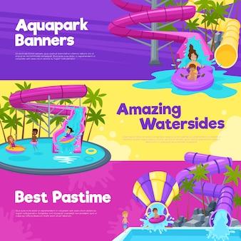 Aquapark horizontal banners