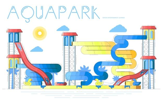 Aquapark ze strefami do zabawy, basenami, zjeżdżalniami, atrakcjami. park wodny latem.