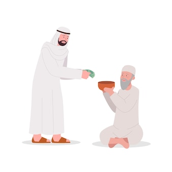 Arab daje jałmużnę staremu żebrakowi