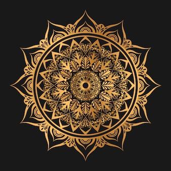 Arabeskowa geometryczna mandala w złotym kolorze