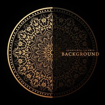 Arabeskowy islamski tło z luksusowym złotym kwiecistym