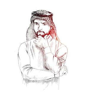Arabia arab człowiek nosi thobe z mylić lub myśli wyraz twarzy, ręcznie rysowane szkic wektor ilustracja.