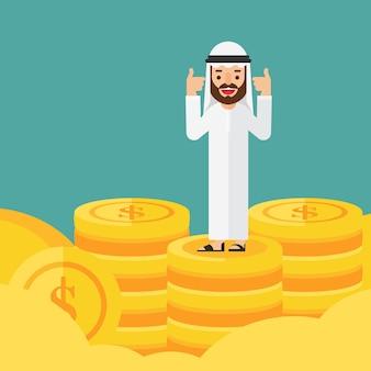 Arabian na górze z pieniędzmi