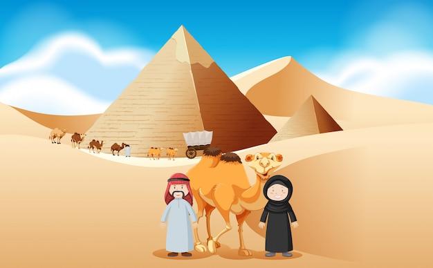 Arabowie i wielbłądy w piramidach