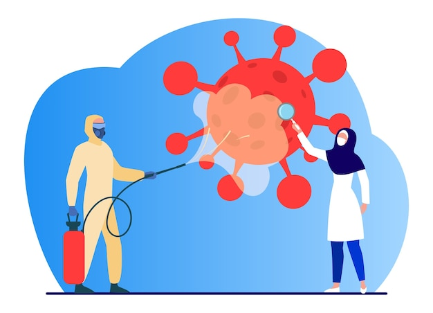 Arabowie w strojach ochronnych dezynfekują teren przed wirusem. koronawirus, maska, ilustracja wektorowa płaska lupa. pandemia i zapobieganie