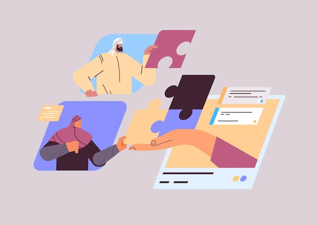 Arabscy biznesmeni układający puzzle układanki koncepcja pracy zespołowej portret poziomy
