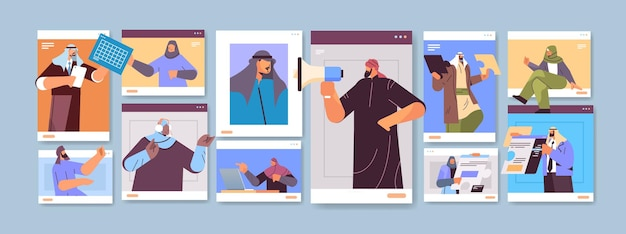 Arabscy biznesmeni w oknach przeglądarki internetowej dyskutują podczas wideokonferencji wirtualna konferencja komunikacja online praca zespołowa