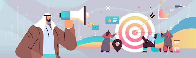 Arabscy biznesmeni wyginają się w zysku cel osiągnięcie cel udana praca zespołowa koncepcja marketingu cyfrowego
