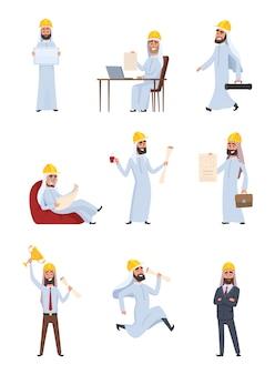 Arabscy budowniczowie. zestaw znaków wyizolowanych