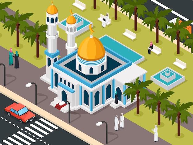 Arabscy muzułmanie w pobliżu składu meczetu