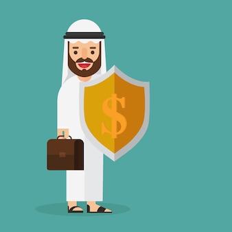 Arabska biznesmena mienia pieniądze osłona