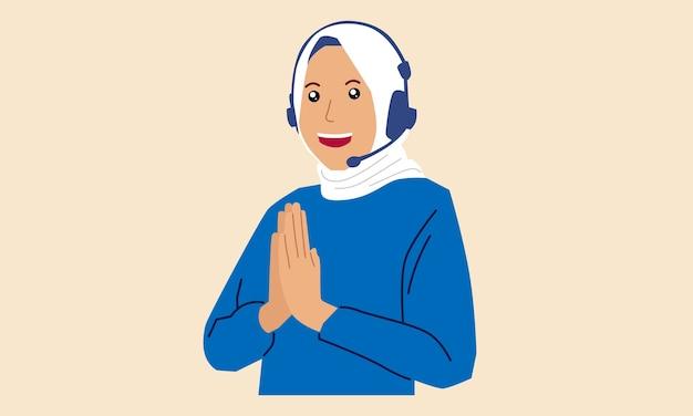 Arabska dama z zestawem słuchawkowym