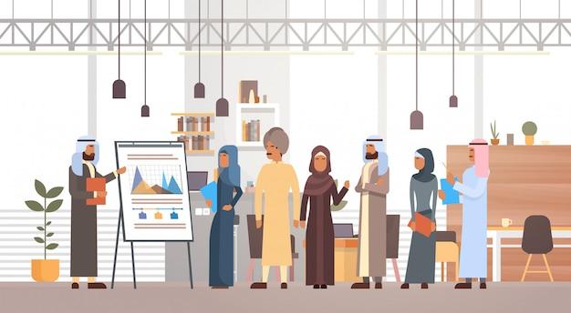 Arabska grupa ludzi biznesu prezentacja flip chart finanse, arabski biznesmeni zespół szkolenia conf