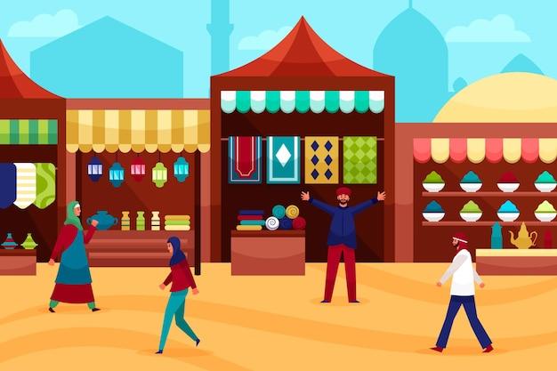 Arabska ilustracja bazaru z kupcami i klientami