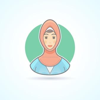 Arabska kobieta w tradycyjne krajowe sukno, ikona muzułmańska. avatar i ilustracja osoby. kolorowy styl konturowy.