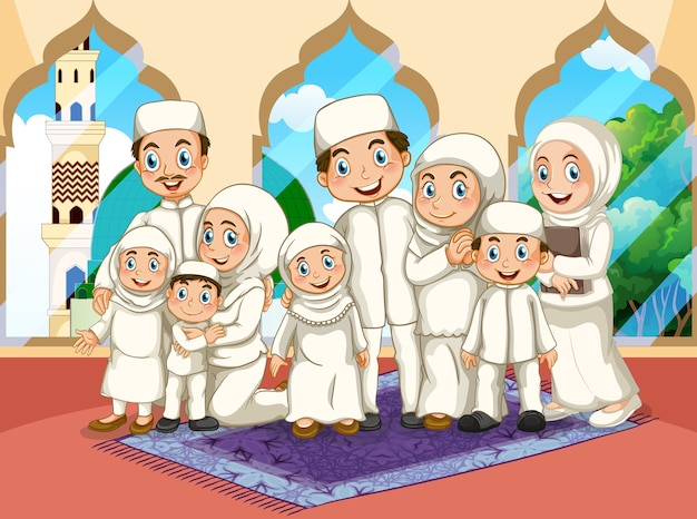 Arabska muzułmańska duża rodzina modląca się w tradycyjnym stroju w meczecie