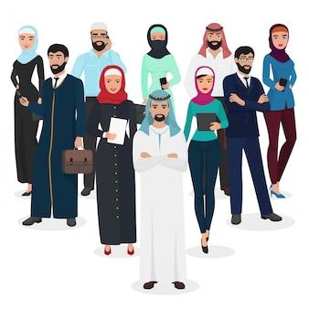 Arabska muzułmańska praca zespołowa ludzi biznesu