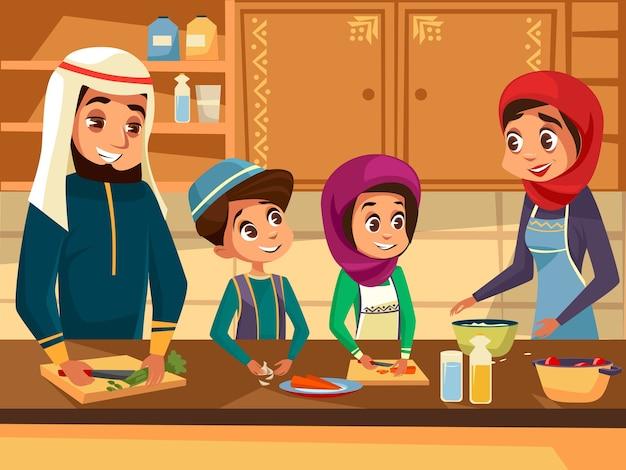 Arabska rodzina gotuje razem w kuchni