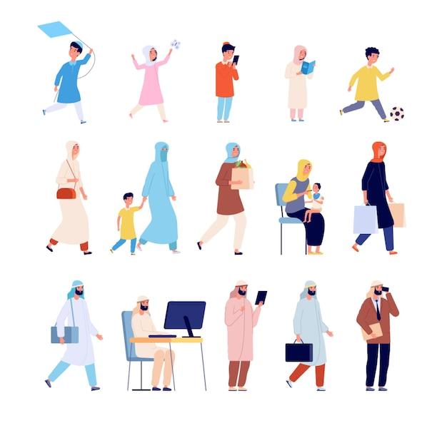 Arabska rodzina. muzułmańscy mężczyźni, arabska kobieta i dziewczynka. kreskówka saudyjscy młodzi ludzie, matka w hidżab biznes osoba i dzieci wektor znaków. arabowie i muzułmanie, ilustracja kobiety i córki