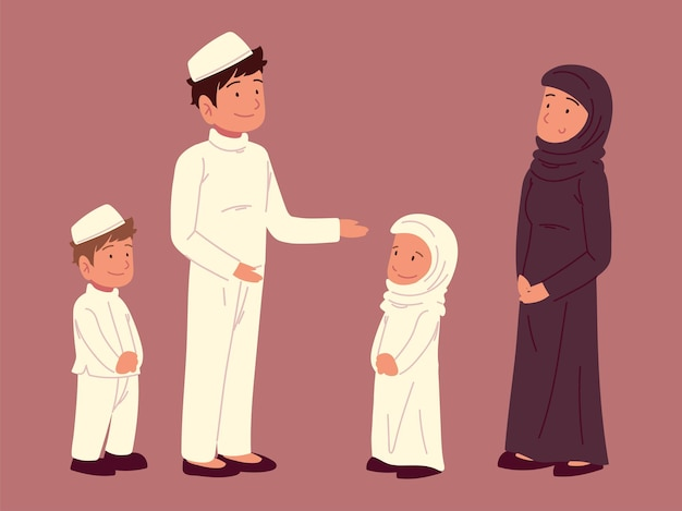 Arabska rodzina muzułmańska razem kreskówka