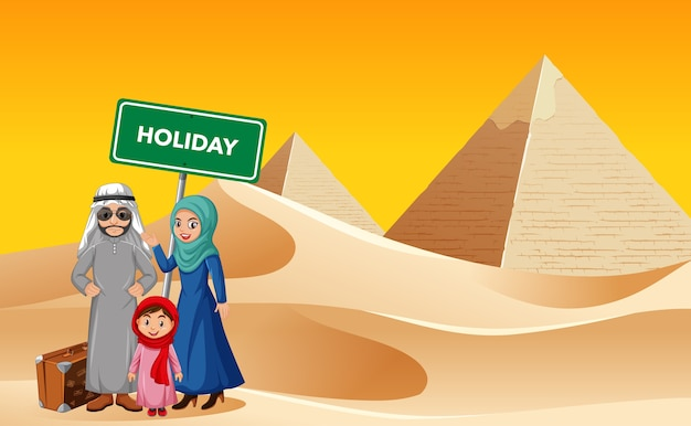Arabska rodzina na wakacjach