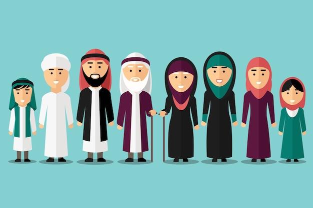 Arabska rodzina. płaskie postacie muzułmańskie. ludzie tradycyjnej kultury islamu, mężczyzna i kobieta, ilustracji wektorowych