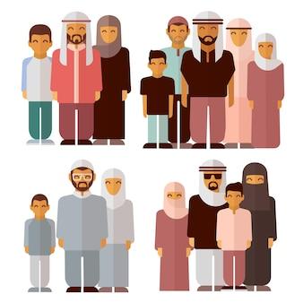 Arabska Rodzina W Tradycyjnych Strojach Muzułmańskich Premium Wektorów
