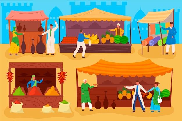 Arabski bazar z owocami i warzywami