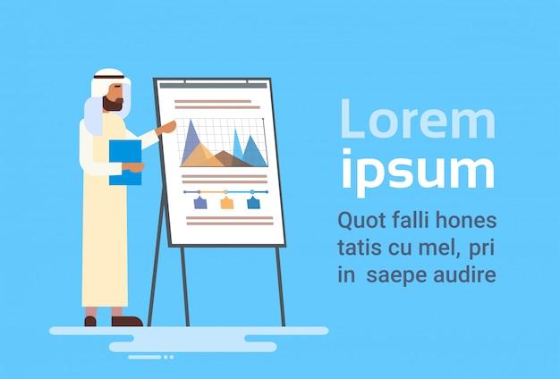 Arabski biznes człowiek prezentacji flip chart finanse, arabski biznesmen szkolenia konferencji