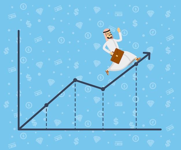 Arabski biznesmen biega wzdłuż wzrostowego wykresu