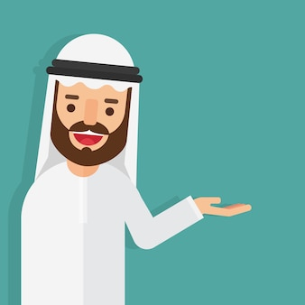 Arabski biznesmen na sobie białą sukienkę