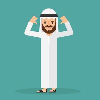 Arabski biznesmen pokazuje gest dezaprobaty