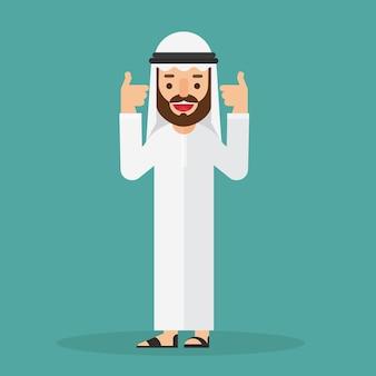 Arabski biznesmen pokazuje gest zatwierdzenie