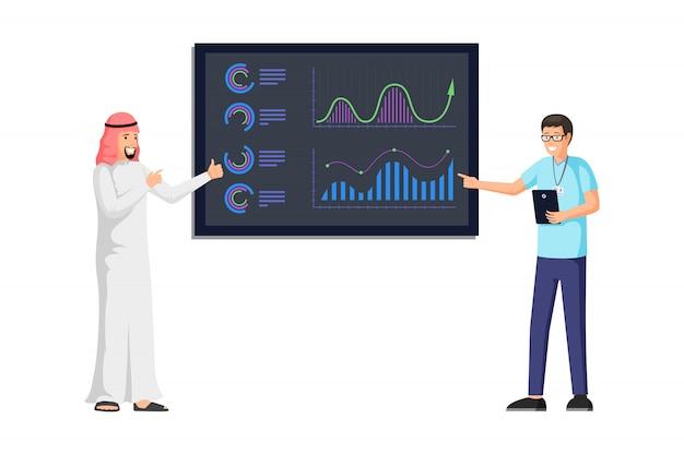 Arabski biznesmen robi prezentaci ilustraci. raport biznesowy z kolorowymi wykresami, diagramami, infografiką, statystykami na pokładzie. analityka biznesowa i strategia
