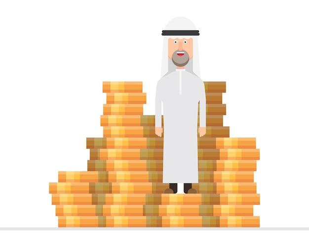 Arabski biznesmen stojący na ogromnym stosie pieniędzy