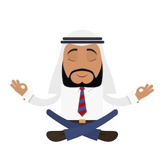 Arabski biznesmen w pozycji lotosu. joga finansowa. młody człowiek w tradycyjnym arabskim kapeluszu. koncepcja sukcesu arabskiego biznesmena