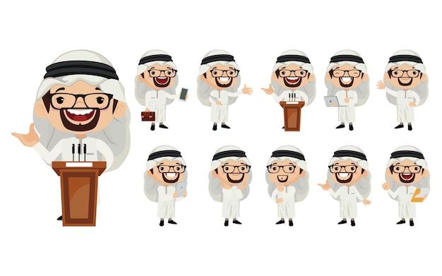 Arabski biznesmen w różnych działaniach