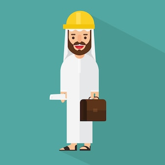 Arabski biznesmen z teczką i buduje projekt rolki